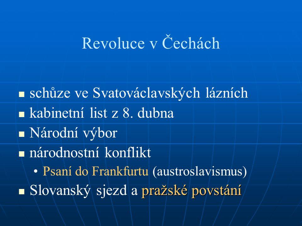 Revoluce v Čechách schůze ve Svatováclavských lázních kabinetní list z 8. dubna Národní výbor národnostní konflikt Psaní do Frankfurtu (austroslavismu