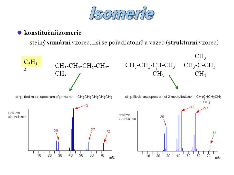  konstituční izomerie stejný sumární vzorec, liší se pořadí atomů a vazeb (strukturní vzorec) C5H12C5H12 CH 3 -CH 2 -CH 2 -CH 2 - CH 3 CH 3 -CH 2 -CH