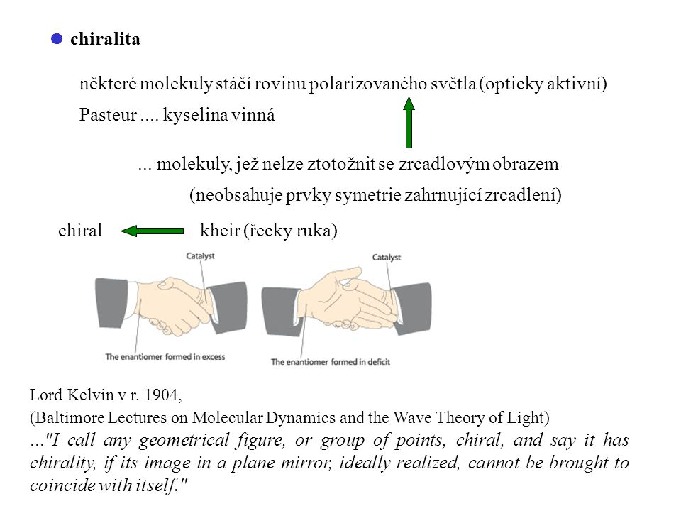  chiralita některé molekuly stáčí rovinu polarizovaného světla (opticky aktivní) Pasteur.... kyselina vinná... molekuly, jež nelze ztotožnit se zrcad