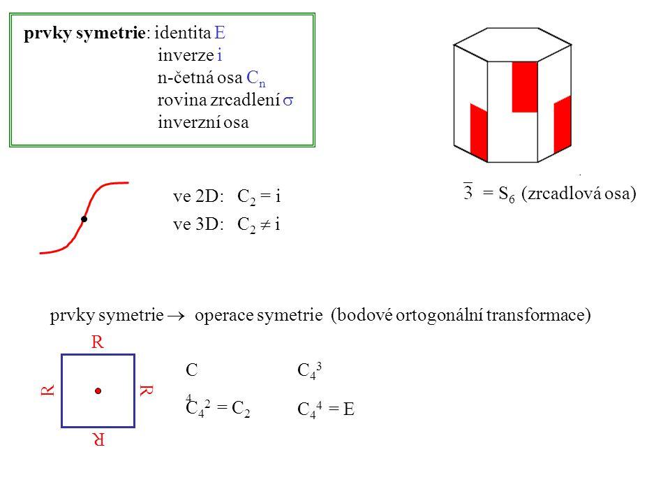 prvky symetrie: identita E inverze i n-četná osa C n rovina zrcadlení  inverzní osa ve 2D: C 2 = i ve 3D: C 2  i prvky symetrie  operace symetrie (bodové ortogonální transformace) C4C4 C 4 2 = C 2 C43C43 C 4 4 = E R R R R = S 6 (zrcadlová osa)