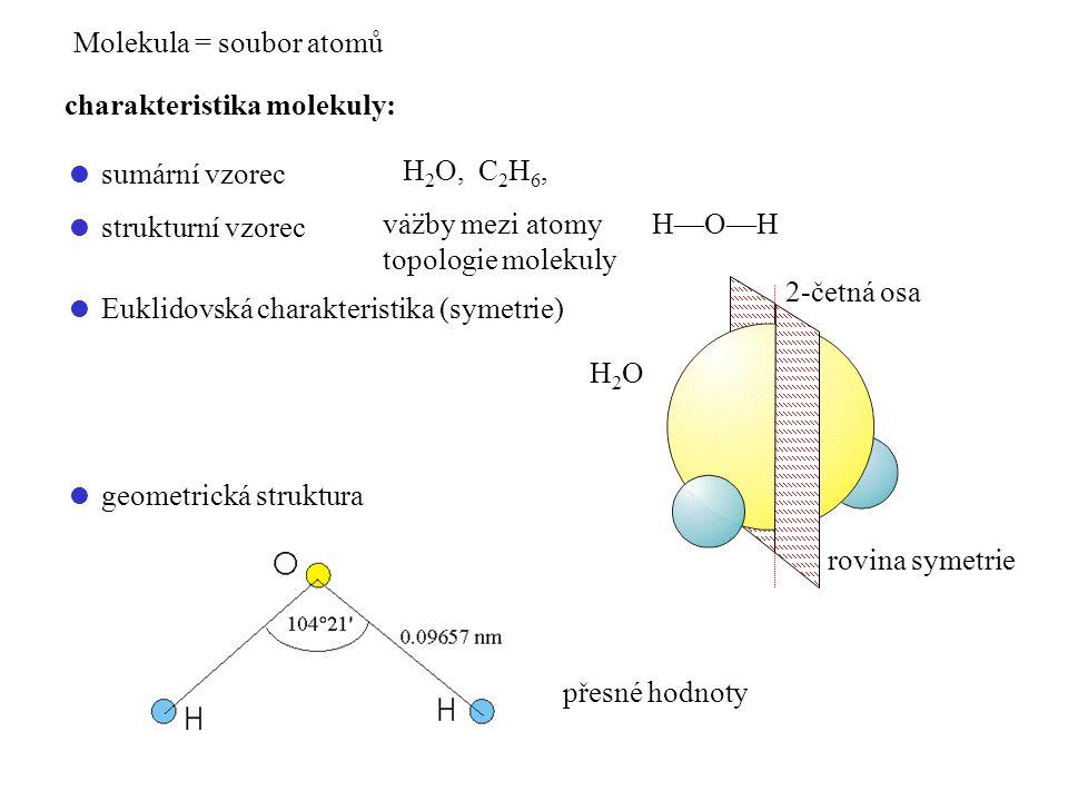 Molekula = soubor atomů charakteristika molekuly:  sumární vzorec H 2 O, C 2 H 6,...  strukturní vzorec vazby mezi atomy H—O—H topologie molekuly 