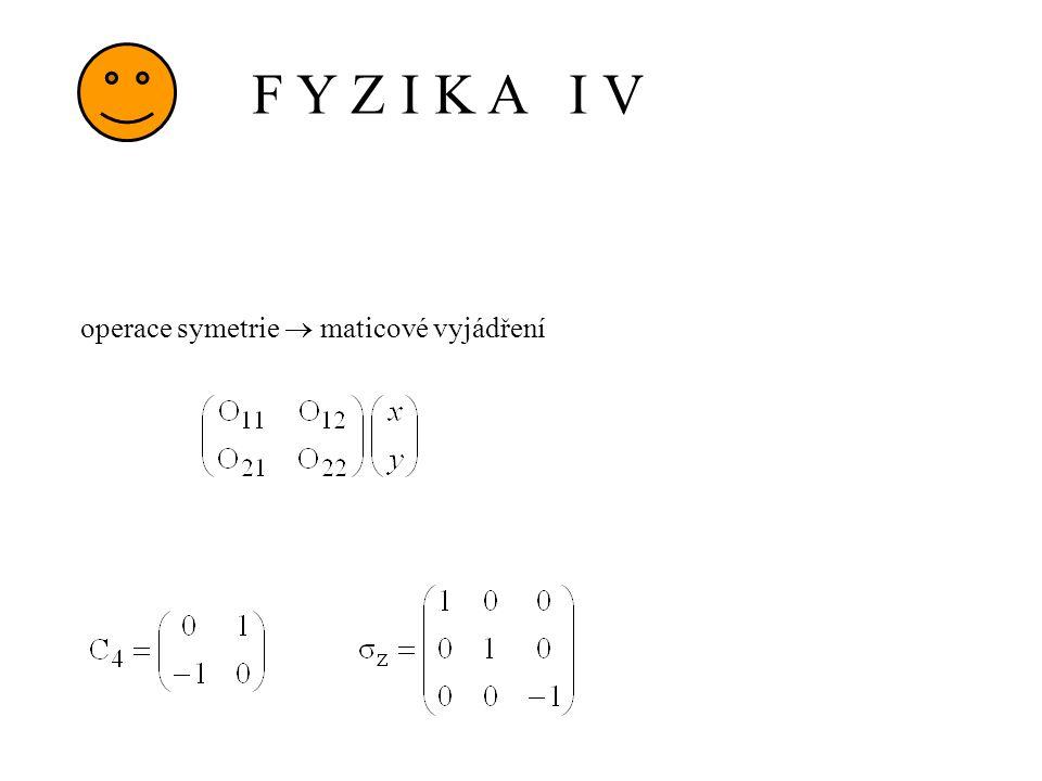 F Y Z I K A I V operace symetrie  maticové vyjádření