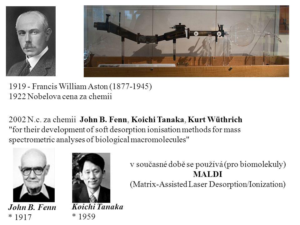 1919 - Francis William Aston (1877-1945) 1922 Nobelova cena za chemii 2002 N.c. za chemii John B. Fenn, Koichi Tanaka, Kurt Wüthrich