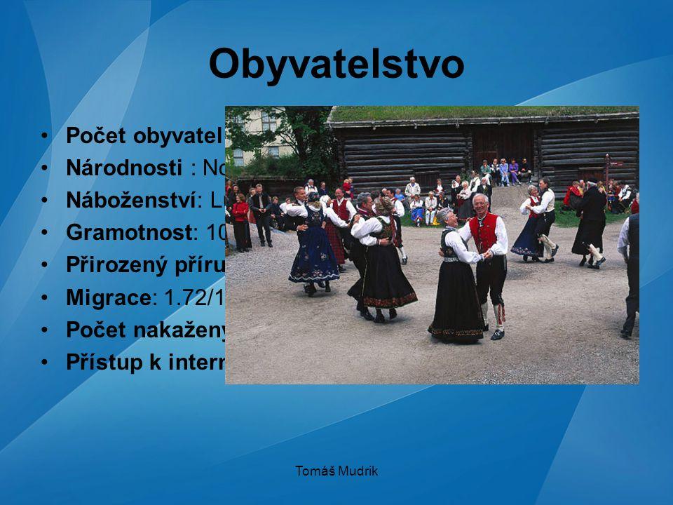 Tomáš Mudrik Obyvatelstvo Počet obyvatel : 4,627,926 (červenec 2007) Národnosti : Norové, Sámové(20 000) Náboženství: Lutheránské (87,9 %) Gramotnost: