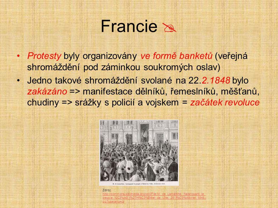 Francie  Protesty byly organizovány ve formě banketů (veřejná shromáždění pod záminkou soukromých oslav) Jedno takové shromáždění svolané na 22.2.184