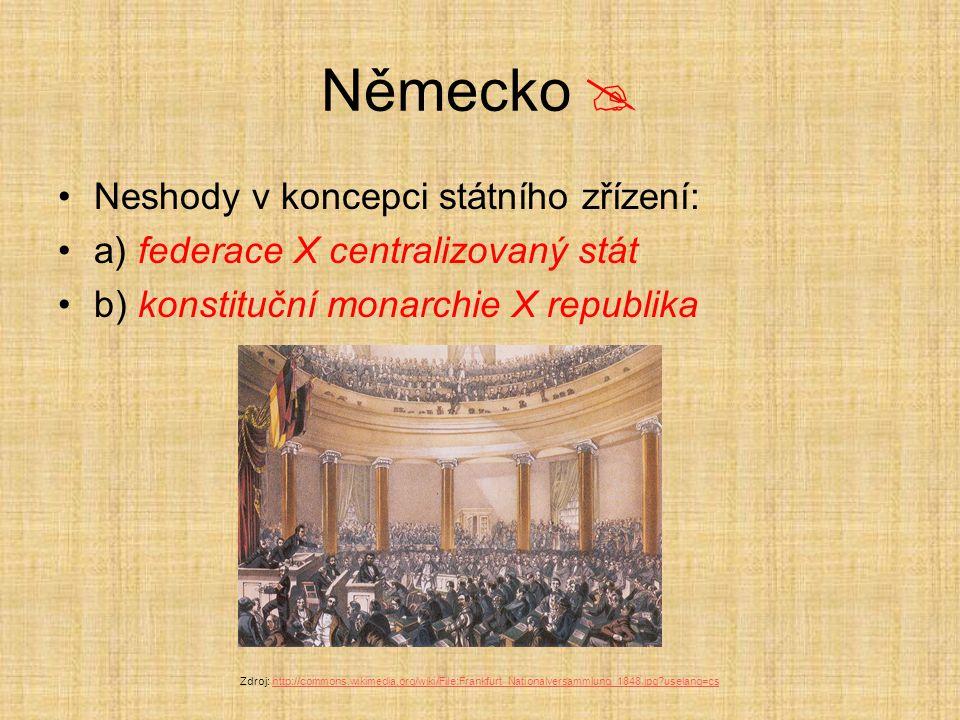 Německo  Neshody v koncepci státního zřízení: a) federace X centralizovaný stát b) konstituční monarchie X republika Zdroj: http://commons.wikimedia.