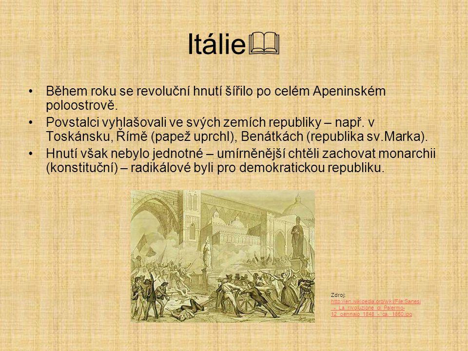 Itálie  Během roku se revoluční hnutí šířilo po celém Apeninském poloostrově. Povstalci vyhlašovali ve svých zemích republiky – např. v Toskánsku, Ří