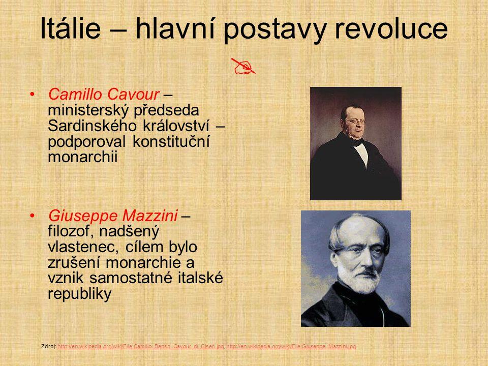 Itálie – hlavní postavy revoluce  Camillo Cavour – ministerský předseda Sardinského království – podporoval konstituční monarchii Giuseppe Mazzini –