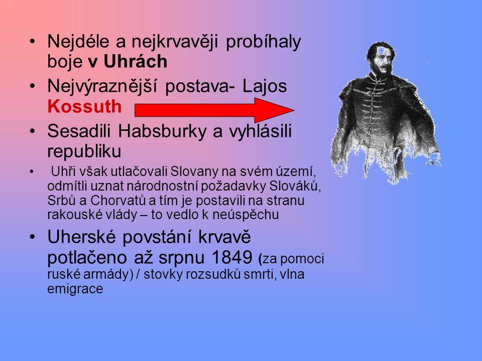 Nejdéle a nejkrvavěji probíhaly boje v Uhrách Nejvýraznější postava- Lajos Kossuth Sesadili Habsburky a vyhlásili republiku Uhři však utlačovali Slova