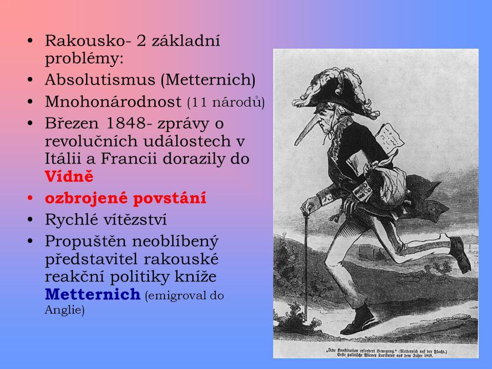 Rakousko- 2 základní problémy: Absolutismus (Metternich) Mnohonárodnost (11 národů) Březen 1848- zprávy o revolučních událostech v Itálii a Francii do