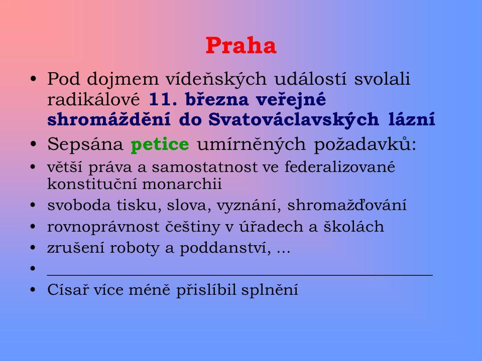 Praha Pod dojmem vídeňských událostí svolali radikálové 11. března veřejné shromáždění do Svatováclavských lázní Sepsána petice umírněných požadavků:
