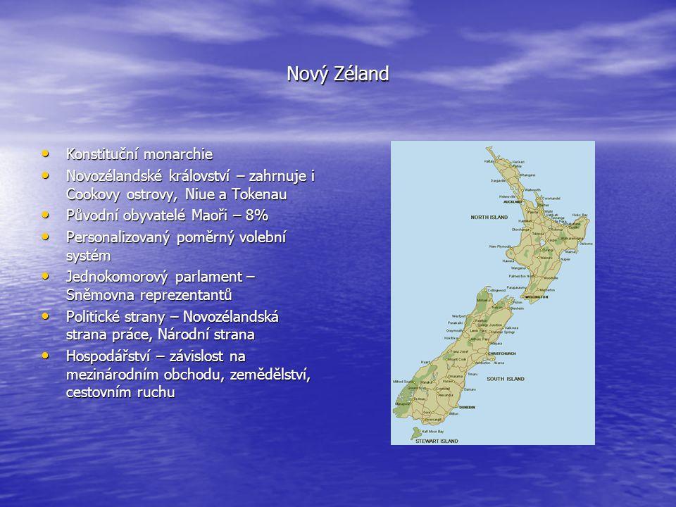 Nový Zéland Konstituční monarchie Konstituční monarchie Novozélandské království – zahrnuje i Cookovy ostrovy, Niue a Tokenau Novozélandské království
