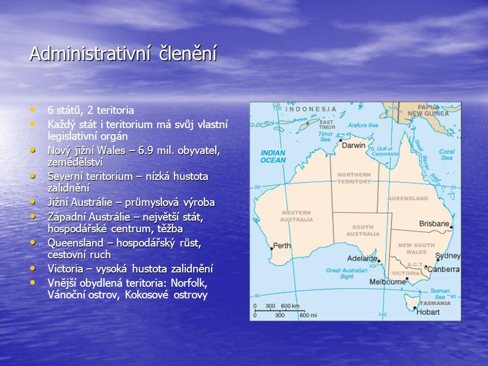 Administrativní členění 6 států, 2 teritoria Každý stát i teritorium má svůj vlastní legislativní orgán Nový jižní Wales – 6.9 mil. obyvatel, zeměděls