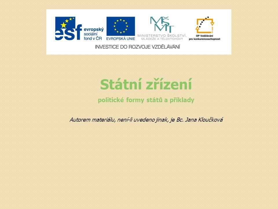 Státní zřízení politické formy států a příklady Autorem materiálu, není-li uvedeno jinak, je Bc. Jana Kloučková