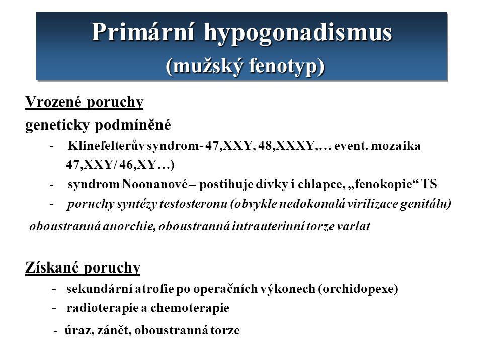 Primární hypogonadismus (mužský fenotyp) Vrozené poruchy geneticky podmíněné - Klinefelterův syndrom- 47,XXY, 48,XXXY,… event. mozaika 47,XXY/ 46,XY…)