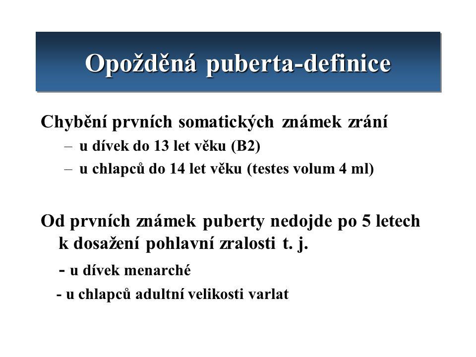 Opožděná puberta-definice Chybění prvních somatických známek zrání –u dívek do 13 let věku (B2) –u chlapců do 14 let věku (testes volum 4 ml) Od první