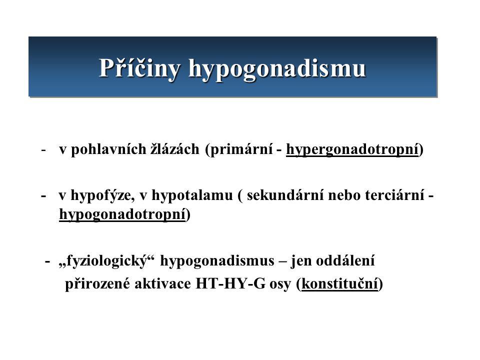 Příčiny hypogonadismu -v pohlavních žlázách (primární - hypergonadotropní) - v hypofýze, v hypotalamu ( sekundární nebo terciární - hypogonadotropní)