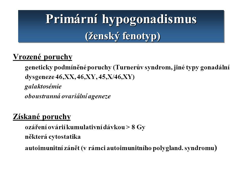 Primární hypogonadismus (ženský fenotyp) Vrozené poruchy geneticky podmíněné poruchy (Turnerův syndrom, jiné typy gonadální dysgeneze 46,XX, 46,XY, 45