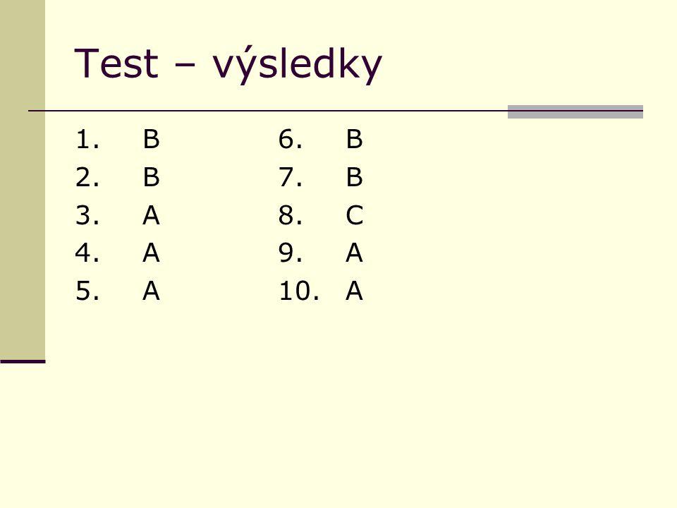 Test – výsledky 1.B6.B 2. B7.B 3. A8.C 4. A9.A 5.A10.A