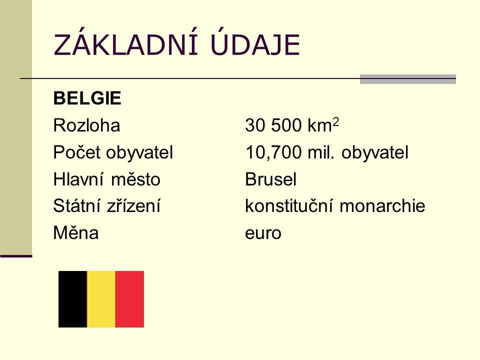 ZÁKLADNÍ ÚDAJE BELGIE Rozloha30 500 km 2 Počet obyvatel10,700 mil.