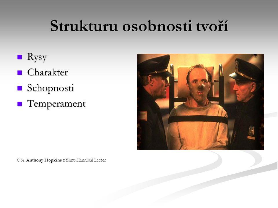 Strukturu osobnosti tvoří Rysy Rysy Charakter Charakter Schopnosti Schopnosti Temperament Temperament Obr. Anthony Hopkins z filmu Hannibal Lecter