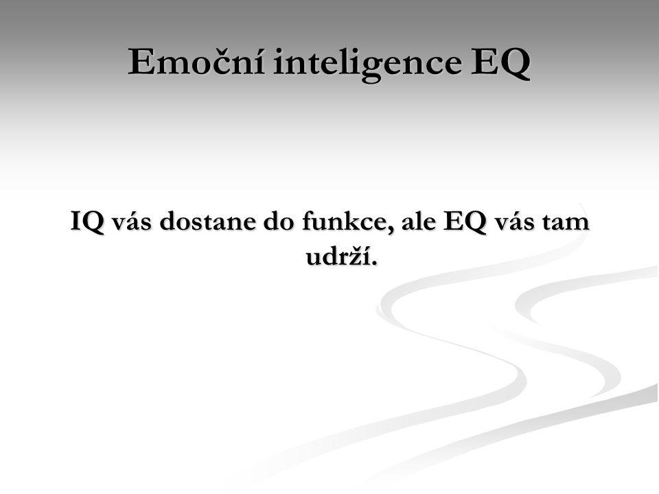 Emoční inteligence EQ IQ vás dostane do funkce, ale EQ vás tam udrží.