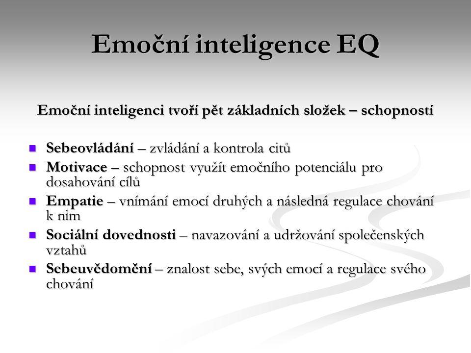 Emoční inteligence EQ Emoční inteligenci tvoří pět základních složek – schopností Sebeovládání – zvládání a kontrola citů Sebeovládání – zvládání a ko