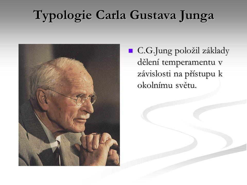 Typologie Carla Gustava Junga C.G.Jung položil základy dělení temperamentu v závislosti na přístupu k okolnímu světu.