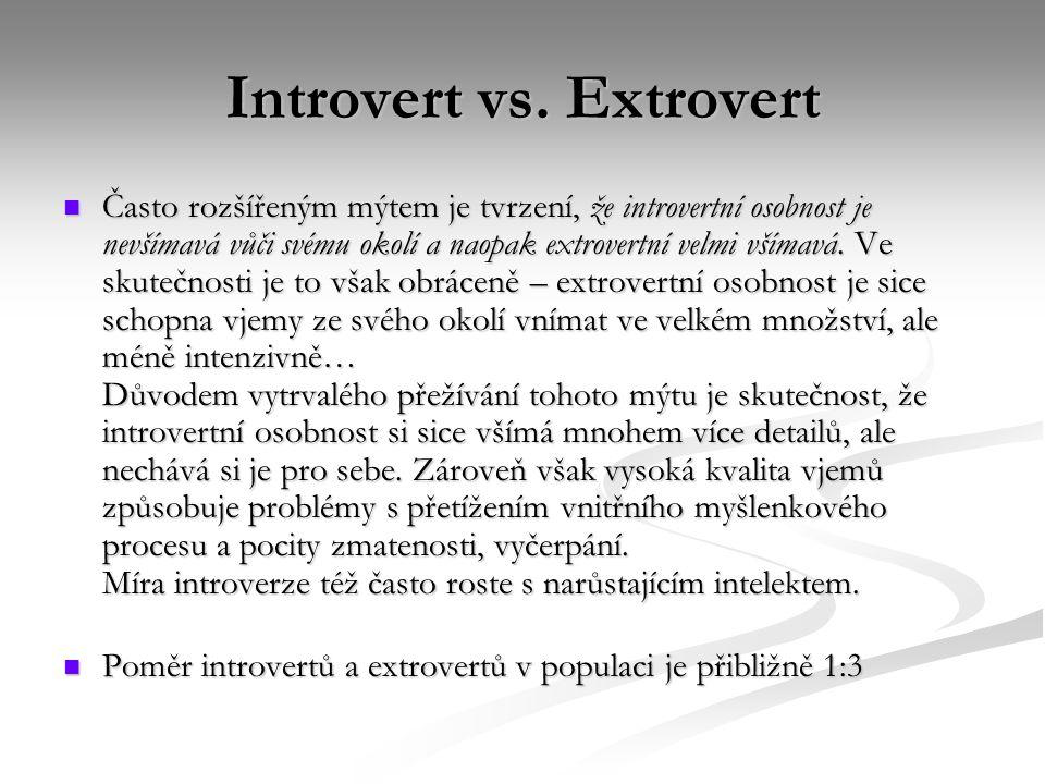 Introvert vs. Extrovert Často rozšířeným mýtem je tvrzení, že introvertní osobnost je nevšímavá vůči svému okolí a naopak extrovertní velmi všímavá. V