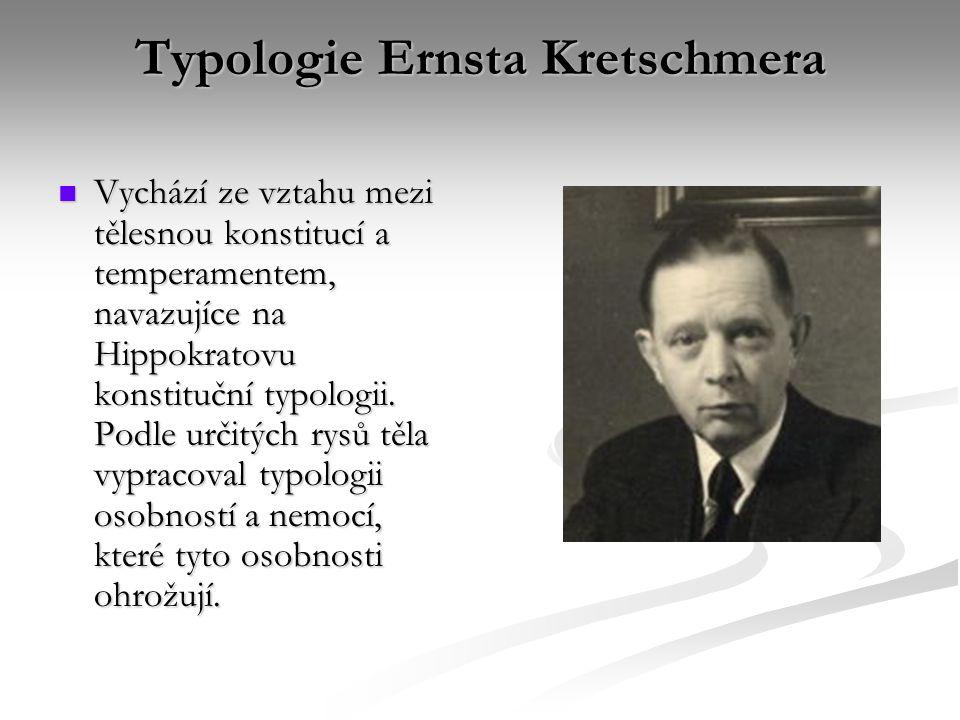 Typologie Ernsta Kretschmera Vychází ze vztahu mezi tělesnou konstitucí a temperamentem, navazujíce na Hippokratovu konstituční typologii. Podle určit