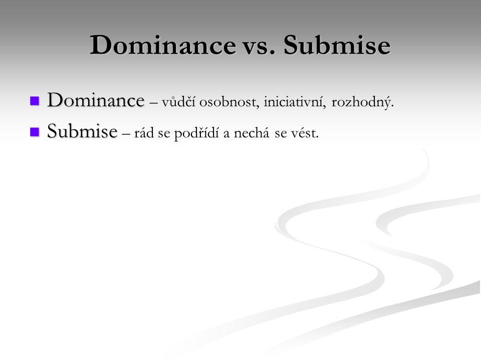 Dominance vs. Submise Dominance Dominance – vůdčí osobnost, iniciativní, rozhodný. Submise Submise – rád se podřídí a nechá se vést.