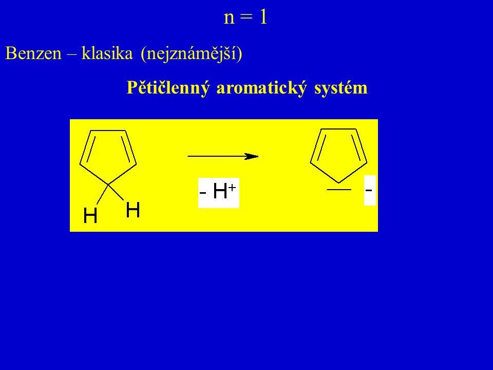 n = 1 Benzen – klasika (nejznámější) Pětičlenný aromatický systém