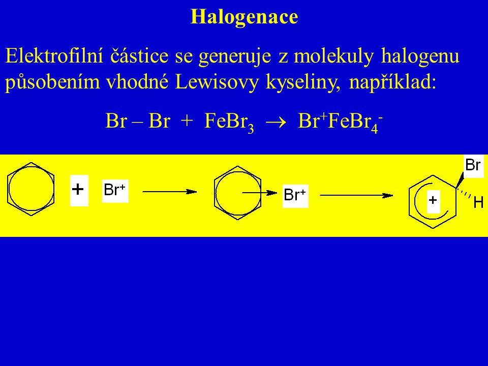 Halogenace Elektrofilní částice se generuje z molekuly halogenu působením vhodné Lewisovy kyseliny, například: Br – Br + FeBr 3  Br + FeBr 4 -