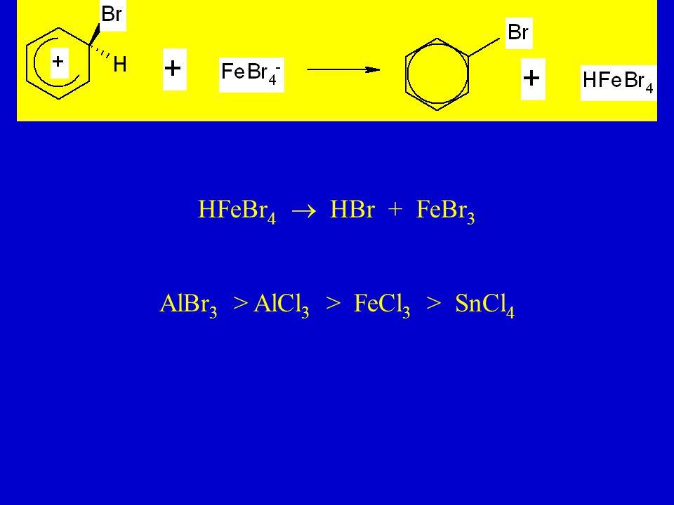 HFeBr 4  HBr + FeBr 3 AlBr 3 > AlCl 3 > FeCl 3 > SnCl 4