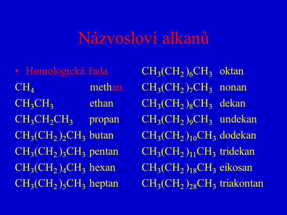 Názvosloví alkanů Homologická řada CH 4 methan CH 3 CH 3 ethan CH 3 CH 2 CH 3 propan CH 3 (CH 2 ) 2 CH 3 butan CH 3 (CH 2 ) 3 CH 3 pentan CH 3 (CH 2 )