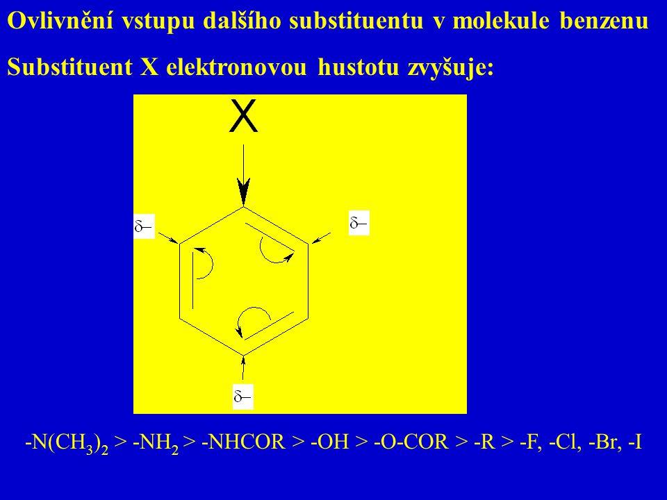 Ovlivnění vstupu dalšího substituentu v molekule benzenu Substituent X elektronovou hustotu zvyšuje: -N(CH 3 ) 2 > -NH 2 > -NHCOR > -OH > -O-COR > -R
