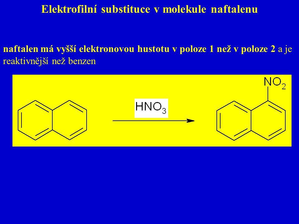 Elektrofilní substituce v molekule naftalenu naftalen má vyšší elektronovou hustotu v poloze 1 než v poloze 2 a je reaktivnější než benzen