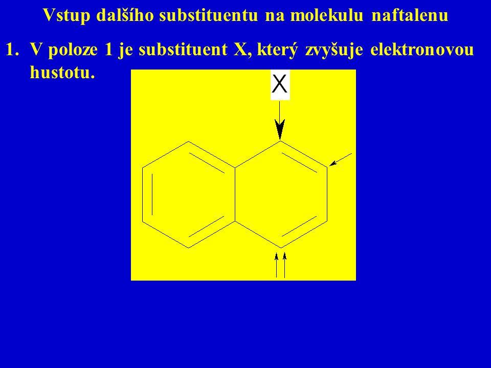 Vstup dalšího substituentu na molekulu naftalenu 1.V poloze 1 je substituent X, který zvyšuje elektronovou hustotu.