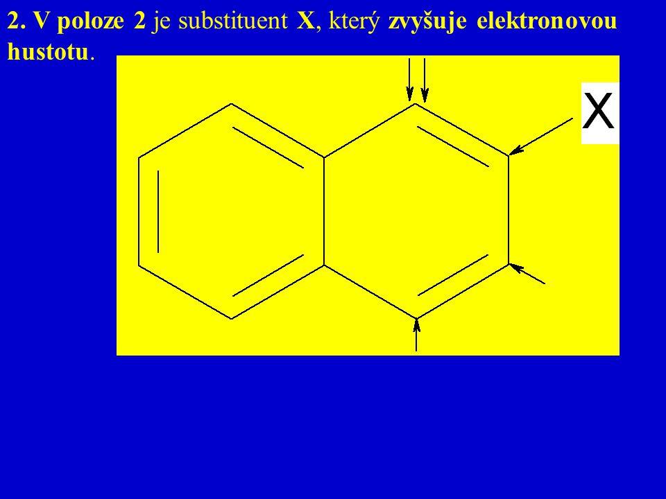 2. V poloze 2 je substituent X, který zvyšuje elektronovou hustotu. V poloze 2 je substituent X, který zvyšuje elektronovou hustotu.