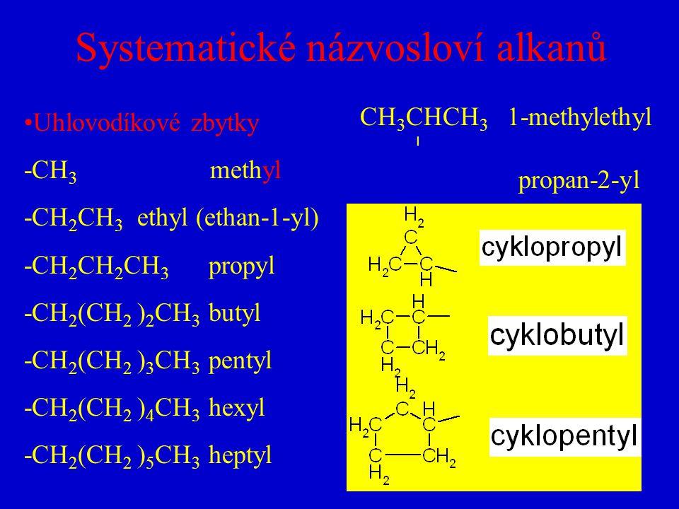 Systematické názvosloví alkanů Uhlovodíkové zbytky -CH 3 methyl -CH 2 CH 3 ethyl (ethan-1-yl) -CH 2 CH 2 CH 3 propyl -CH 2 (CH 2 ) 2 CH 3 butyl -CH 2