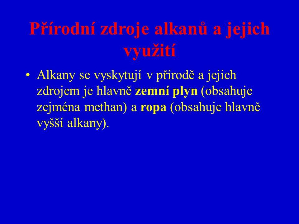 Přírodní zdroje alkanů a jejich využití Alkany se vyskytují v přírodě a jejich zdrojem je hlavně zemní plyn (obsahuje zejména methan) a ropa (obsahuje