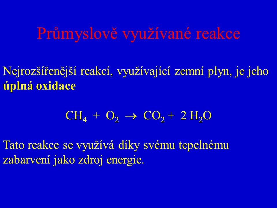 Průmyslově využívané reakce Nejrozšířenější reakcí, využívající zemní plyn, je jeho úplná oxidace CH 4 + O 2  CO 2 + 2 H 2 O Tato reakce se využívá d
