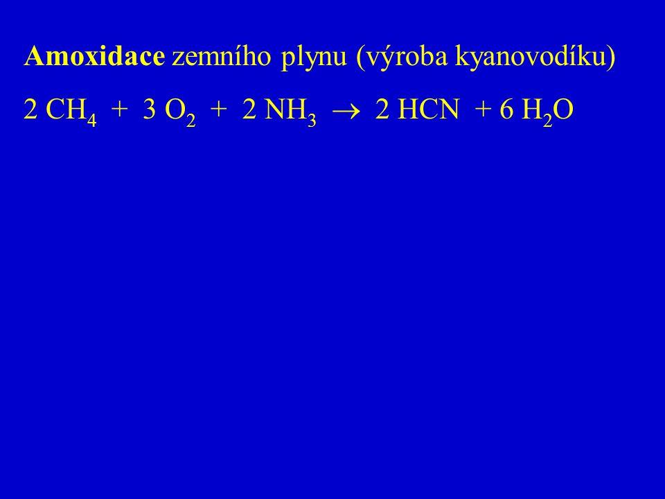 Amoxidace zemního plynu (výroba kyanovodíku) 2 CH 4 + 3 O 2 + 2 NH 3  2 HCN + 6 H 2 O