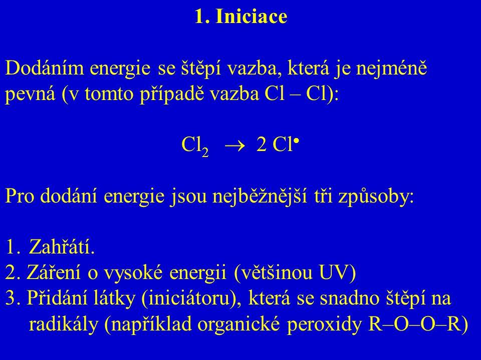 1. Iniciace Dodáním energie se štěpí vazba, která je nejméně pevná (v tomto případě vazba Cl – Cl): Cl 2  2 Cl  Pro dodání energie jsou nejběžnější