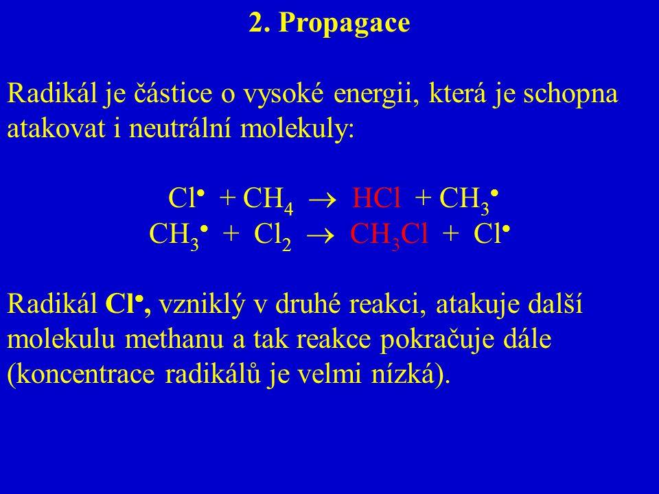 2. Propagace Radikál je částice o vysoké energii, která je schopna atakovat i neutrální molekuly: Cl  + CH 4  HCl + CH 3  CH 3  + Cl 2  CH 3 Cl +