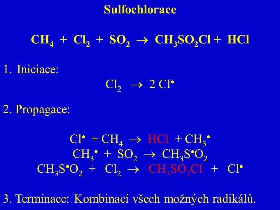 Sulfochlorace CH 4 + Cl 2 + SO 2  CH 3 SO 2 Cl + HCl 1.Iniciace: Cl 2  2 Cl  2. Propagace: Cl  + CH 4  HCl + CH 3  CH 3  + SO 2  CH 3 S  O 2