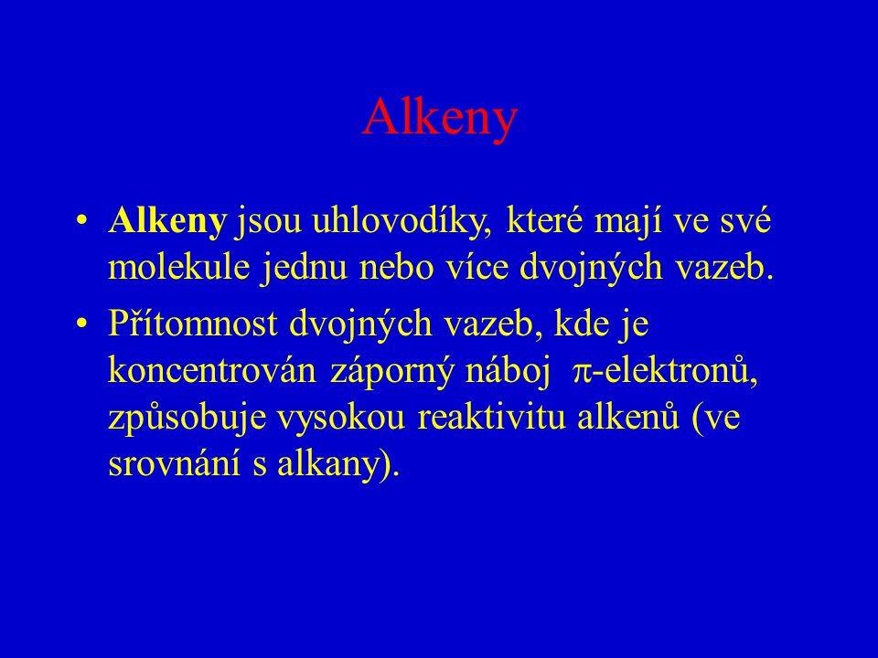 Alkeny Alkeny jsou uhlovodíky, které mají ve své molekule jednu nebo více dvojných vazeb. Přítomnost dvojných vazeb, kde je koncentrován záporný náboj