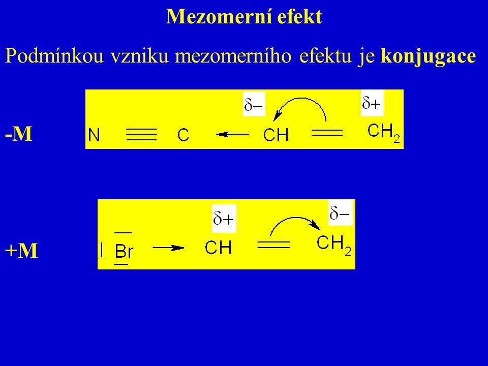 Mezomerní efekt Podmínkou vzniku mezomerního efektu je konjugace -M +M