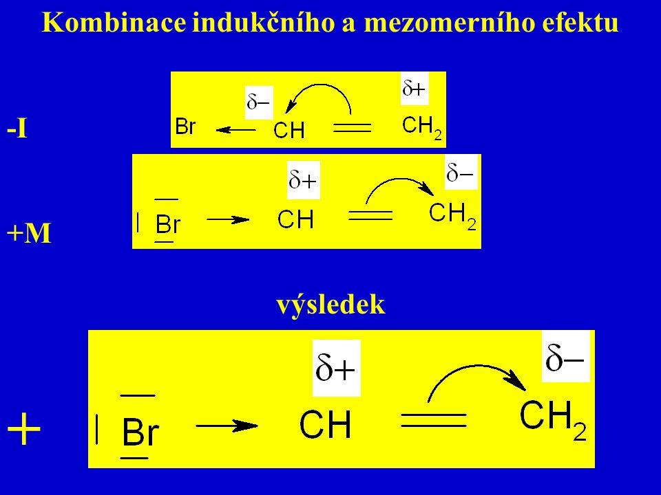 Kombinace indukčního a mezomerního efektu -I +M výsledek +