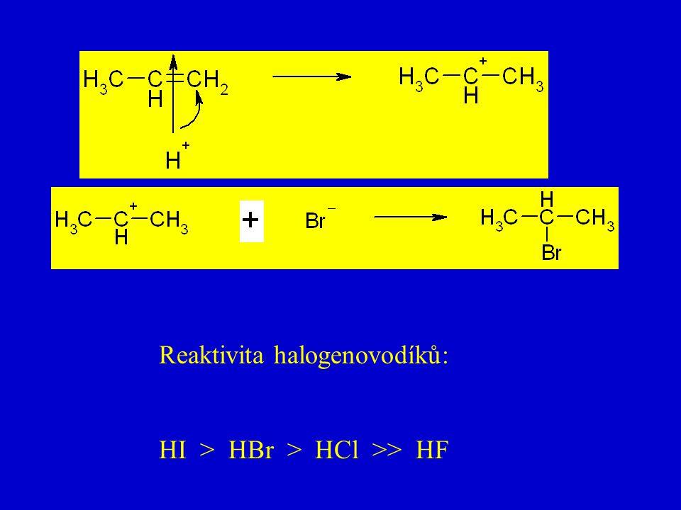 Reaktivita halogenovodíků: HI > HBr > HCl >> HF